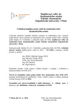 Vyhlášení doplňovacích voleb do studentské části AS FEK