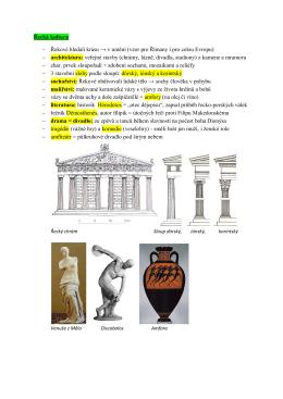 Řecká kultura - Řekové hledali krásu → v umění (vzor pro Římany i