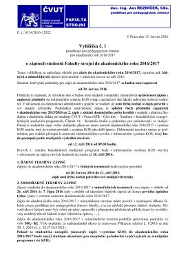Vyhláška č. 1 - České vysoké učení technické v Praze