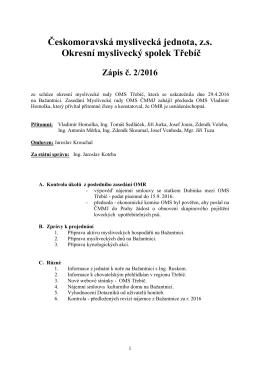 Zápis z jednání MR OMS Třebíč č. 2/2016