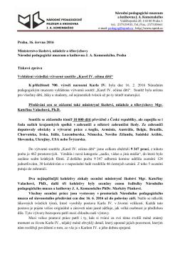 Tisková zpráva - Národní pedagogické muzeum a knihovna JA
