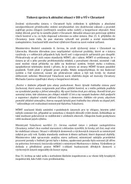 Tisková zpráva k aktuální situaci v DD a VÚ v Chrastavě