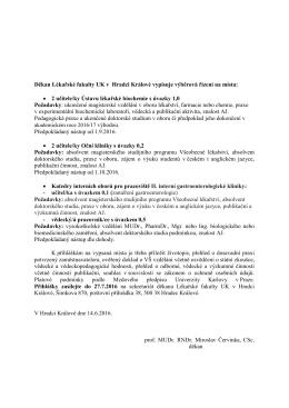 Výběrové řízení - Ústav lékařské biochemie