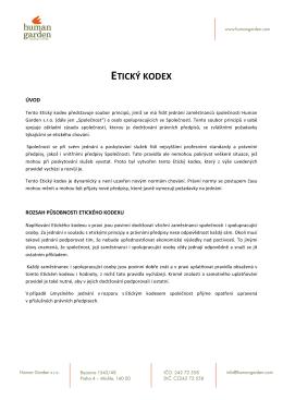 etický kodex - Human Garden