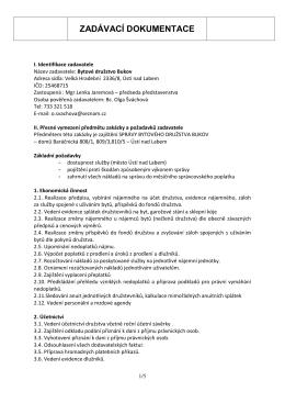 zadávací dokumentace - Bytové družstvo Bukov, Ústí nad Labem