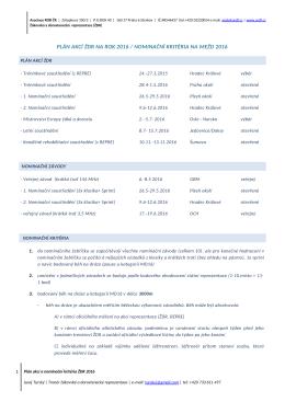 Plán akcí a nominační zásady ŽDR pro rok 2016