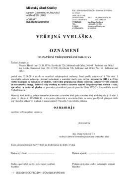 oznámení o uzavření VPS na umístění RD v k.ú. Velká