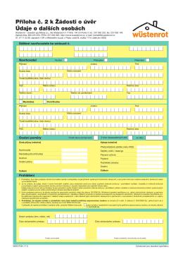 Příloha č. 2 k Žádosti o úvěr Údaje o dalších osobách