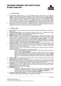Obchodní podmínky pro poskytování služby ČSOB CEB