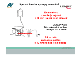 Správná instalace pumpy - umístění 25cm nahoru způsobuje