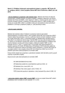 Návrh 2.1 Přidělení účelových neinvestičních dotací