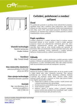technology summary – REHABILITAČNÍ ZAŘÍZENÍ