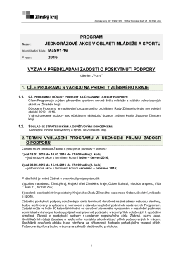 program jednorázové akce v oblasti mládeže a sportu