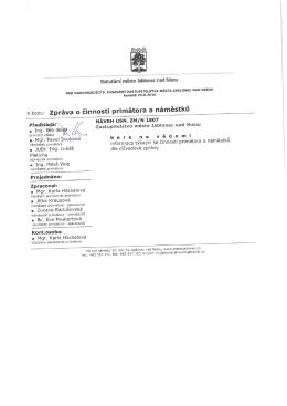 Zpráva o činnosti primátora a náměstků