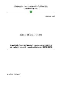 Zkušební komise č. 1 - Zemědělská fakulta JU