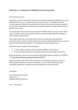CHG Service, as ukončuje servis TOSHIBA PC k datu 30. června 2016