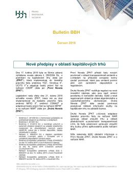 BBH BULLETIN - Nové předpisy v oblasti kapitálových trhů