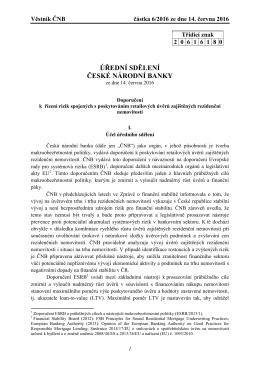 úřední sdělení české národní banky