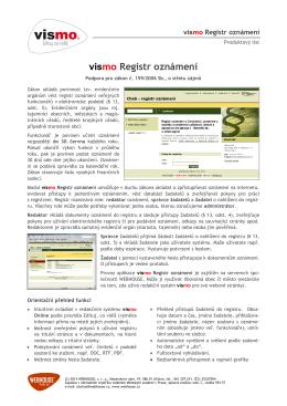 Modul vismo Registr oznámení