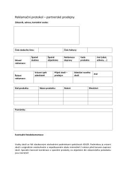 Reklamační protokol – partnerské prodejny