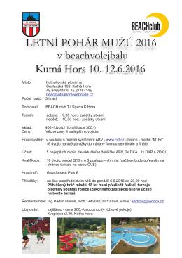 Kutná Hora 10.-12.6.2016 LETNÍ POHÁR MUŽŮ 2016 v