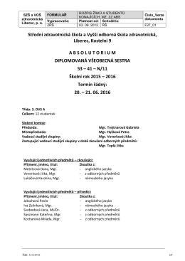 Absolutorium 3. DVS A - Střední zdravotnická škola a Vyšší odborná