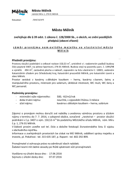 Záměr pronájmu nemovitého majetku ve vlastnictví města Mělník
