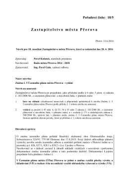 Změna č. 5 Územního plánu města Přerova