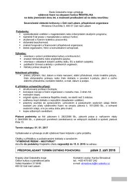 Vyhlášení výběrového řízení na funkci ředitel/ka Severočeské