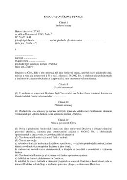 smlouva o výkonu funkce - Bytové družstvo CP 365
