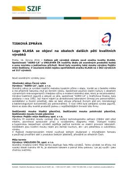 Logo KLASA se objeví na obalech dalších pěti kvalitních výrobků