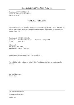Veřejná vyhláška - Česká Ves