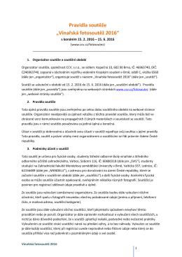 """Pravidla soutěže """"Vinařská fotosoutěž 2016"""""""