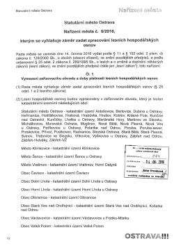 Nařízení města č. 6/2016 kterym se vyhlasuje zamer zadat