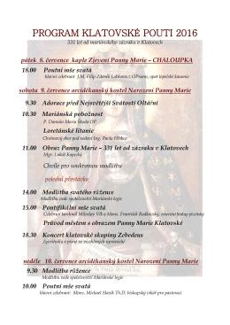 program klatovské pouti 2016 - Římskokatolická farnost Klatovy