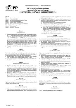 zvláštní pojistné podmínky pro pojištění odpovědnosti poskytovatele