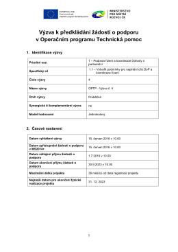 Výzva k předkládání žádostí o podporu v Operačním programu