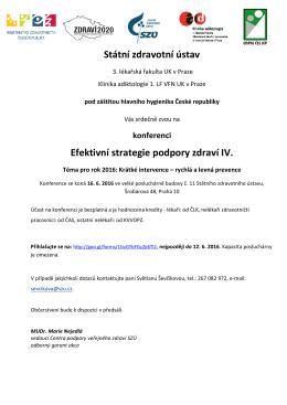 Pozvánka na konferenci Efektivní strategie podpory zdraví IV.
