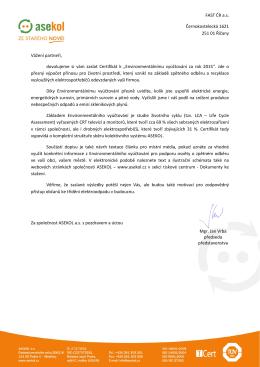 FAST ČR a.s. Černokostelecká 1621 251 01 Říčany Vážení partneři