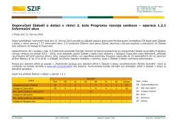 Doporučení žádostí o dotaci v rámci 2. kola Programu rozvoje