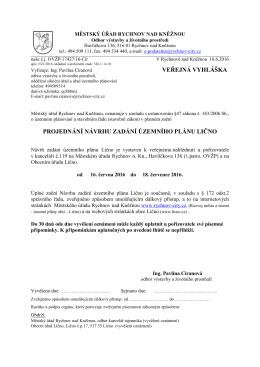Veřejná vyhláška - Návrh zadání ÚP Lično