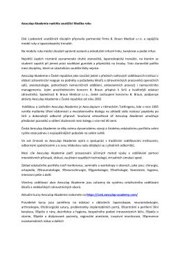 Aesculap Akademie nadchla soutěžící Medika roku
