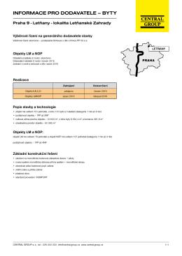 informace pro dodavatele – byty