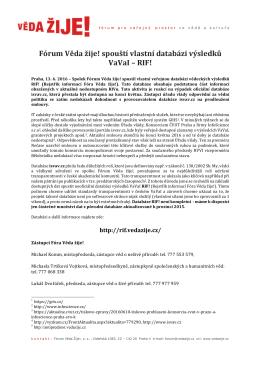 Fórum Věda žije! spouští vlastní databázi výsledků VaVaI – RIF!