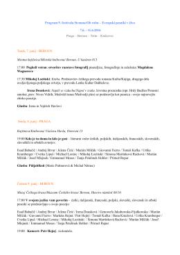 Program 9. festivala Stranou/Ob robu – Evropski pesniki