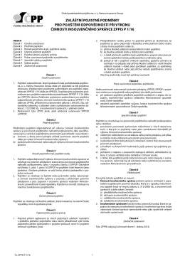 zvláštní pojistné podmínky pro pojištění odpovědnosti při výkonu