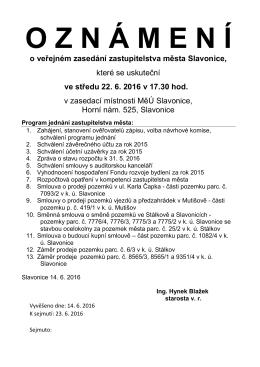 Oznámení o 16. veřejném zasedání zastupitelstva města Slavonice