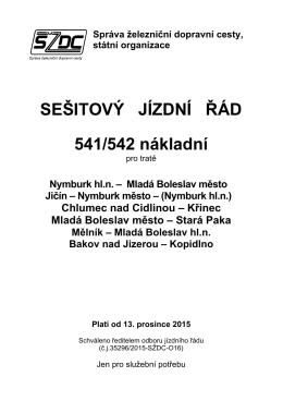 SEŠITOVÝ JÍZDNÍ ŘÁD 541/542 nákladní