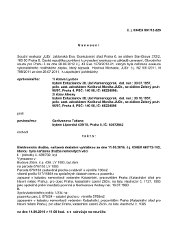 č. j. 034EX 667/12-226 U snesen í Soudní exekutor JUDr. Jablonská