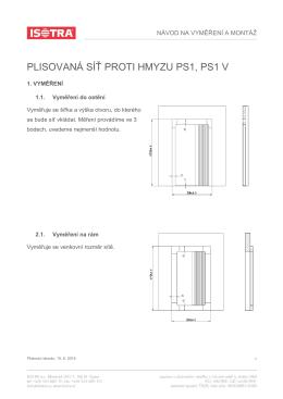 Návod na vyměření a montáž PS1, PS1 V